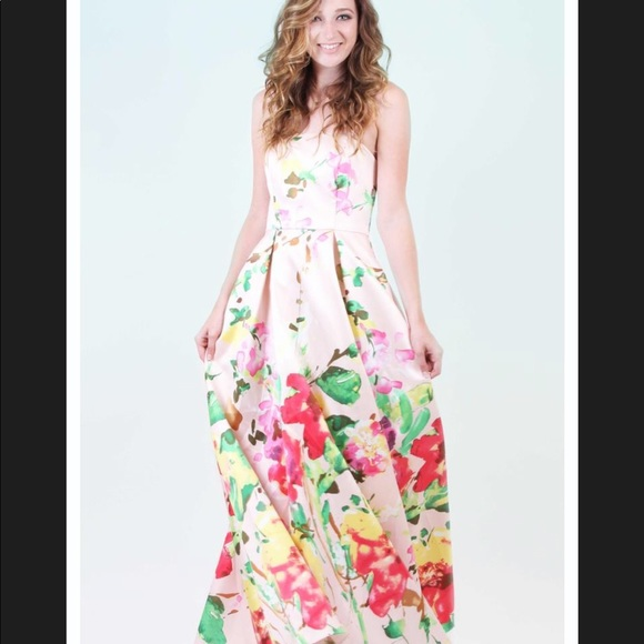 Floral pink gown
